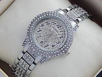 Женские кварцевые наручные часы Guess в стразах - серебро, серый циферблат, фото 1
