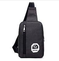 Рюкзак на одно плечо из нейлона. Черный