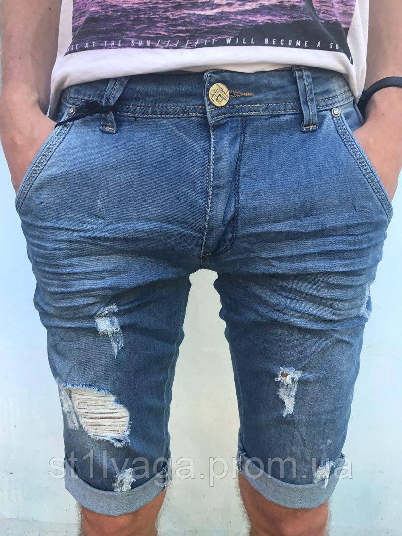 Капри шорты голубые рваные мужские джинсовые Mario