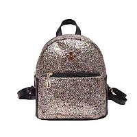 Женский рюкзак блестящий золото