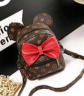 Коричневый рюкзак с ушками и красным бантом в стиле Louis Vuitton