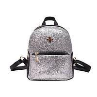 Женский рюкзак блестящий серебристый, фото 1