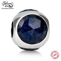 """Серебряная подвеска шарм Пандора (Pandora) """"Синяя солнечная капелька"""" для браслета бусина"""