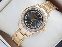 Женские кварцевые наручные часы Geneva с датой, золотистый корпус, фото 1