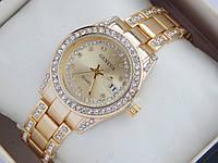 Женские кварцевые наручные часы Geneva с датой, золотой циферблат, фото 1
