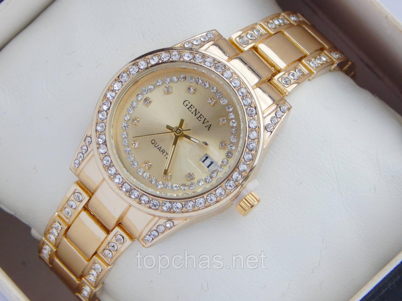 5b7b214a Женские кварцевые наручные часы Geneva с датой, золотой циферблат ...