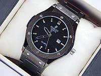 Мужские кварцевые наручные часы копия Hublot geneve черного цвета, на металлическом браслете, фото 1