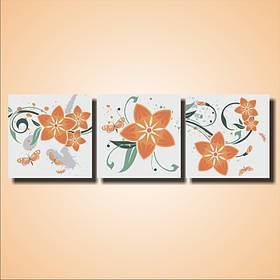"""Модульная картина """"Оранжевые цветы. Триптих"""""""