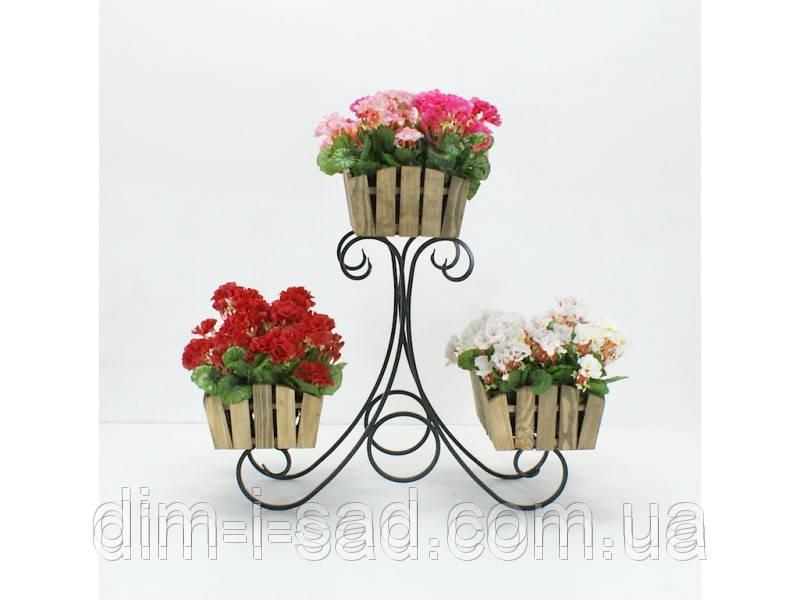 Подставки  кованые для цветов,Сани 3  горка Кантри