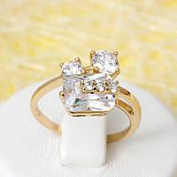 002-2671 - Позолоченное кольцо с прозрачными фианитами, 16.5 р