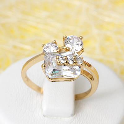 002-2671 - Позолоченное кольцо с прозрачными фианитами, 16.5, 17.5, 18, 19 р