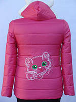 Яркая куртка на девочку демисезон весна осень 4-12 лет Ушки и котик! Распродажа!