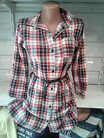 Женская рубашка туника с поясом в клетку размер46-48