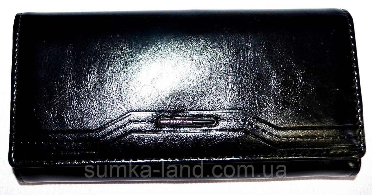 Женский черный кошелек кожзаме Cossroll на кнопке