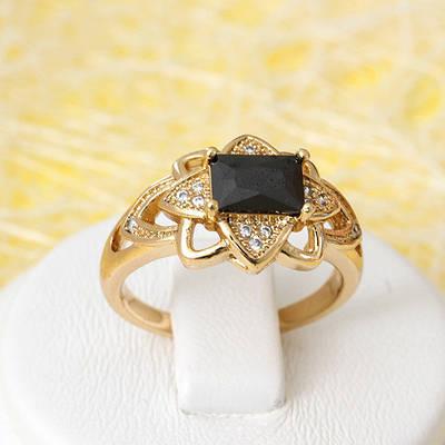 R1-2695 - Позолоченное кольцо с чёрным и прозрачными фианитами, 17, 18, 18.5 р