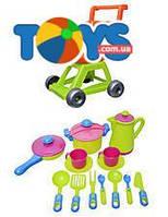 Детская игрушечная тележка с набором посуды, 36-005