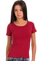 Гранатовая красная футболка женская без рисунка однотонная летняя с коротким рукавом хлопок стрейч (Украина)
