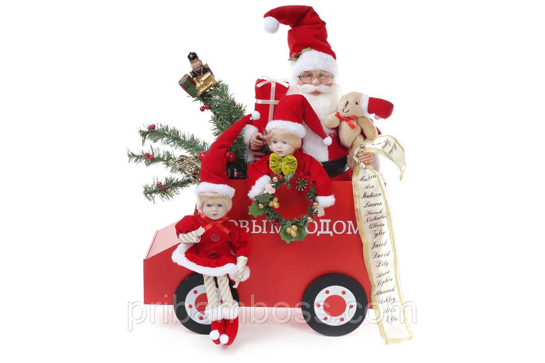 Новогодняя игрушка Санта на вагоне 48см, цвет - красный