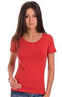 Красная футболка женская без рисунка яркая спортивная летняя с коротким рукавом хлопок стрейч (Украина) 50