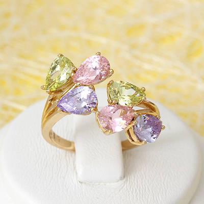 002-2697 - Позолоченное кольцо с цветными фианитами, регулируется 16.5-17.0 р
