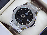 Чоловічі кварцові наручні годинники - сріблясті, на металевому браслеті, фото 1