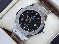 Мужские кварцевые наручные часы Hublot geneve - серебристые, на металлическом браслете, фото 1