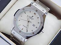 Мужские кварцевые наручные часы копия Hublot geneve на металлическом браслете, белый циферблат, фото 1