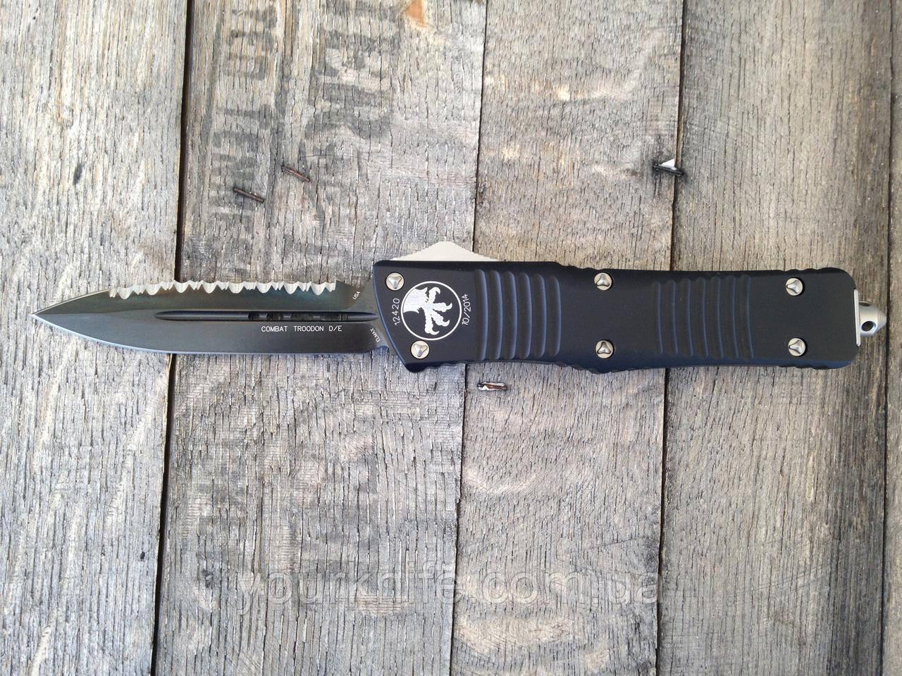 Купить Нож Microtech Troodon Combat DE Full Serr Black 142-3 M390