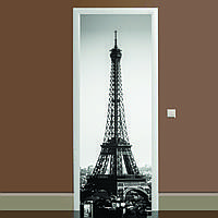 Наклейка на дверь черно-белая Эйфелева башня 01 650х2000мм виниловая 3Д наклейка декор самоклеящаяся