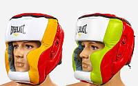 Шлем боксерский с полной защитой кожаный ELAST MA-010-L (красн-салат-белый, красн-желт-белый, р-р L-XL)