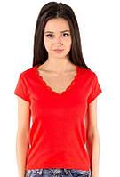 Красная футболка женская летняя с коротким рукавом однотонная хлопок с кружевом трикотажная (Украина)