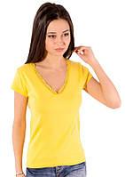 Желтая футболка женская летняя яркая с коротким рукавом однотонная хлопок с кружевом трикотажная (Украина)