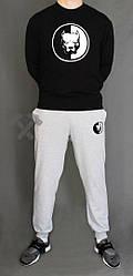 Мужской спортивный костюм Staff черный с серым (люкс копия)