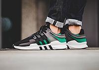 Мужские беговые кроссовки Adidas Equipment EQT SUPPORT черные с зеленым