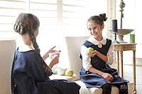 Школьный сарафан из итальянского льна с батистовой рубашкой для девочек