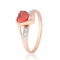 """Серебряное кольцо с имитацией граната """"366"""""""
