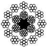 Канат стальной двойной свивки многопрядный ЛК-Р 18х19(1+6+6/6)+1о.с. ГОСТ 3088