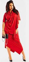 Красивое стильное замшевое женское платье большого размера с рукавом и с ассиметричным подолом    + цвета