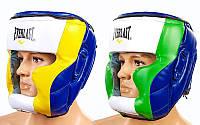 Шлем боксерский с полной защитой PU ELAST MA-011-PU (синий-желтый-белый, синий-салат-бел, р-р L-XL)