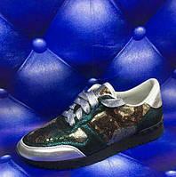 Женские Кожаные кроссовки Valentino с пайетками зеленый