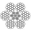 Канат сталевий подвійного звивання ЛК-Р 6х19(1+6+6/6)+7х7 ГОСТ 14954