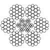 Канат стальной двойной свивки ЛК-Р 6х19(1+6+6/6)+7х7 ГОСТ 14954