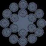 Канат стальной двойной свивки ЛК-РО многопрядный 12х36+6х36+1о.с. ГОСТ 16827-81