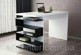 Стол офисный, письменный с боковой полкой зигзагом для офиса, дома