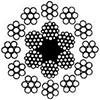 Канат стальной двойной свивки ЛК-Р многопрядный 12х7(1+6)+6х19(1+6+6/6)+ОС ГОСТ 16828-81