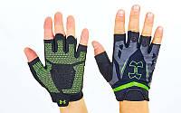 Перчатки для кроссфита, WorkOut Under Armour BC-6305-G (р-р M-XL, черный-салатовый)