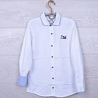Школьная рубашка с налокотниками Blueland #7975 для мальчиков. 134-170 см. Белая. Школьная форма оптом