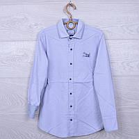 Школьная рубашка с налокотниками Blueland #7975 для мальчиков. 134-170 см. Серая. Школьная форма оптом