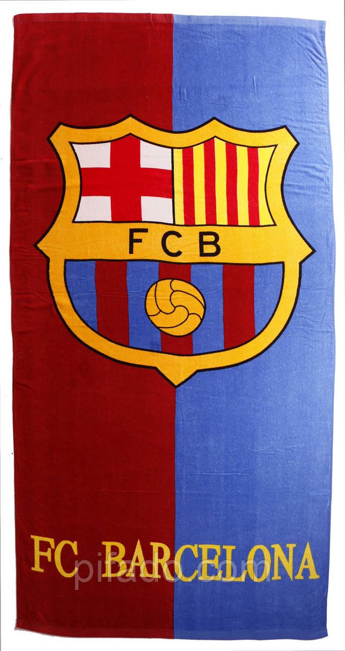 Пляжное полотенце FC Barcelona (велюр-махра) 70х140. Код 1632
