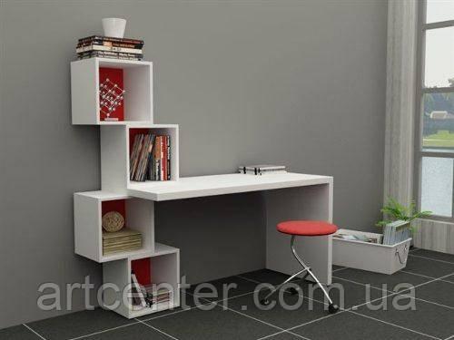 Стол белый из ДСП для офиса, дизайнерский стол